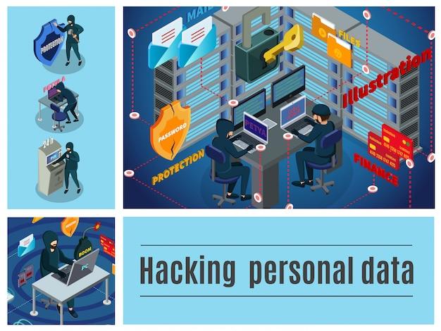 Izometryczna Aktywność Hakera Kolorowa Kompozycja Z Serwerami Komputerowymi Centrum Danych W Bankomatach Pocztowych Hakowanie Cyberprzestępstw Finansowych Darmowych Wektorów