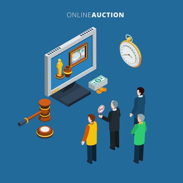 Izometryczna Aukcja Online Darmowych Wektorów