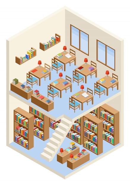Izometryczna Biblioteka I Czytelnia Premium Wektorów