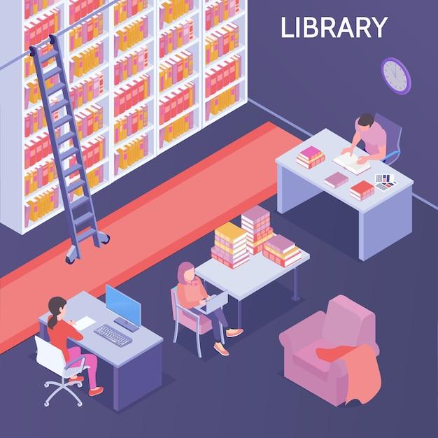 Izometryczna Biblioteka Ilustracji Darmowych Wektorów