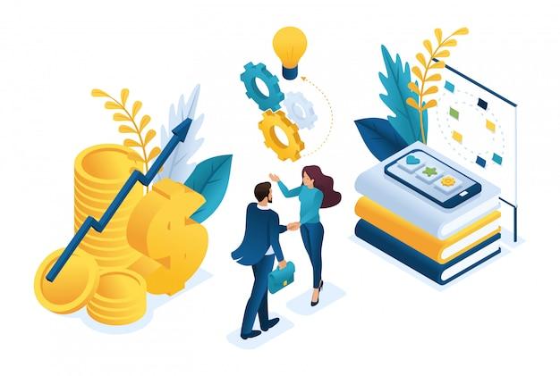 Izometryczna Biznesowa Współpraca Finansowa Między Inwestorem A Zespołem Kreatywnym. Premium Wektorów