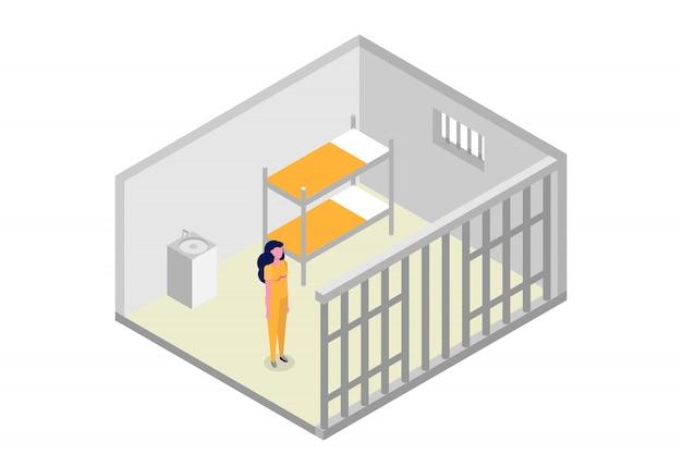 Izometryczna Cela Więzienna. Więzienie, Koncepcja Więzienia. Ilustracji Wektorowych Premium Wektorów