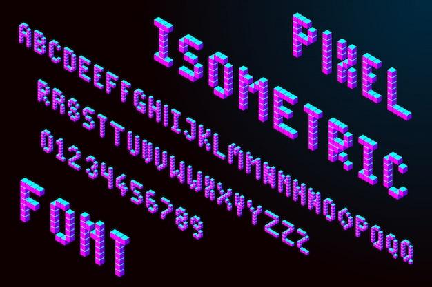 Izometryczna czcionka 3d pikseli Premium Wektorów