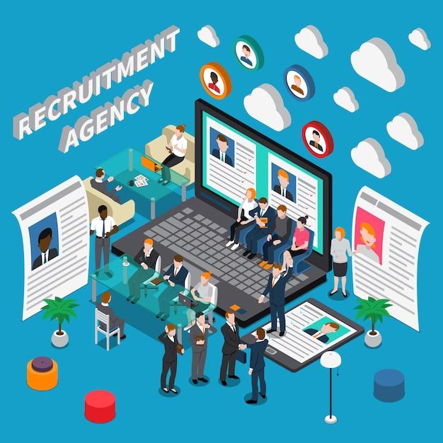 Izometryczna Ilustracja Agencji Rekrutacyjnej Darmowych Wektorów