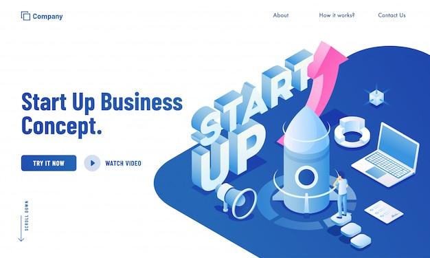 Izometryczna ilustracja biznesowego mężczyzna uruchamia ich projekt od laptopu dla zaczyna up biznesowego pojęcia strony internetowej projekta. Premium Wektorów