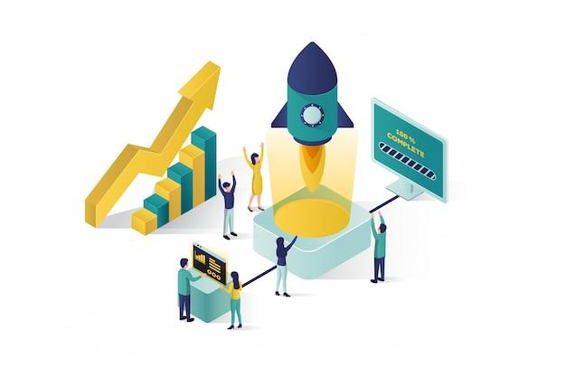 Izometryczna ilustracja grupa ludzi postaci przygotowuje rozpoczęcie projektu biznesowego. wzrost kariery do sukcesu, izometryczny biznes, analiza biznesowa Premium Wektorów