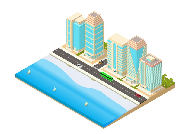 Izometryczna Ilustracja Miasta Nad Morzem Premium Wektorów