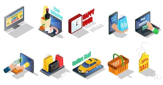 Izometryczna Kolekcja Elementów E-commerce Z Zakupem Online Taksówka Rabaty Bezpłatnej Dostawy Torby Na Zakupy Kosz Metka Z Ceną Na Białym Tle Darmowych Wektorów