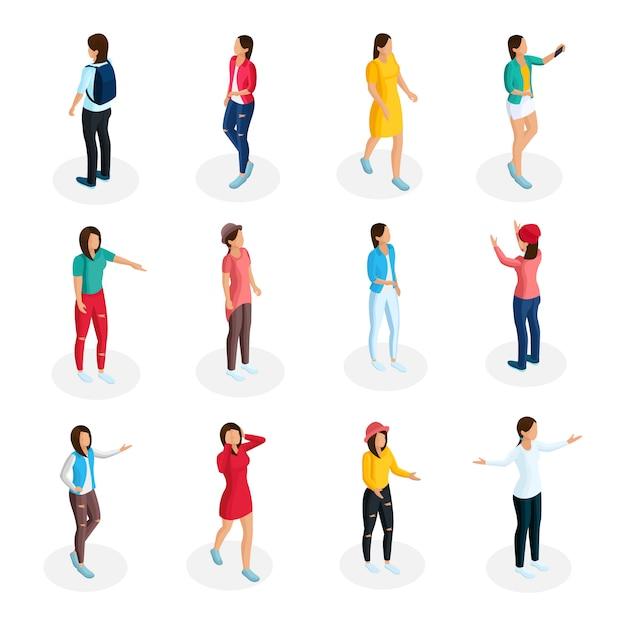 Izometryczna Kolekcja Nastolatków Z Młodymi Dziewczynami W Swobodnym Stroju I Stojącymi W Różnych Pozach Na Białym Tle Darmowych Wektorów
