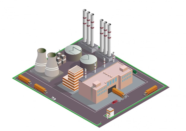 Izometryczna Kompozycja Budynków Przemysłowych Z Widokiem Na Obiekty Premium Wektorów