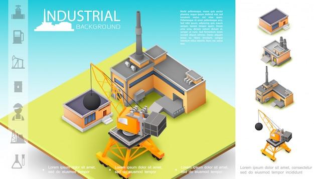 Izometryczna Kompozycja Do Produkcji Przemysłowej Z Magazynem Dźwigów Budowlanych I Ikonami Przemysłu Naftowego Darmowych Wektorów
