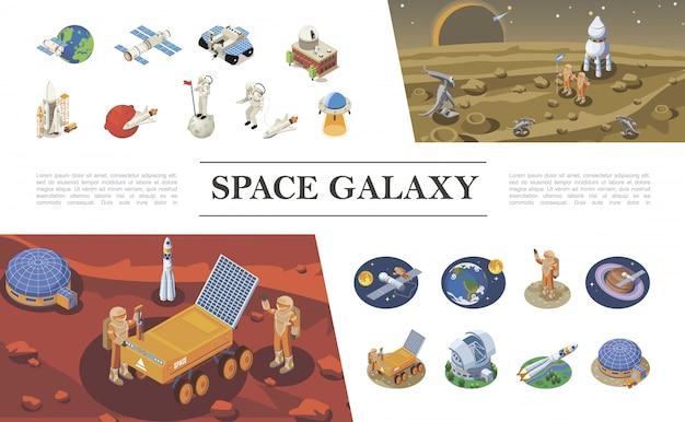Izometryczna Kompozycja Elementów Kosmicznych Z Rakietami Statki Kosmiczne Promy Astronauci Spotykający Się Z Kosmitami Kolonia Kosmiczna Ufo łazik Księżycowy Różne Planety Darmowych Wektorów