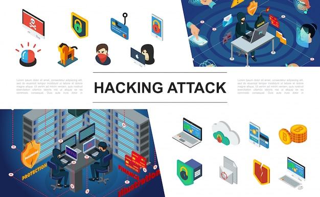 Izometryczna Kompozycja Hakerska Z Hakerami, Syrena, Ochrona Serwerów Komputerowych, Autoryzacja Biometryczna, Kradzież Pieniędzy Z Karty Płatniczej Darmowych Wektorów