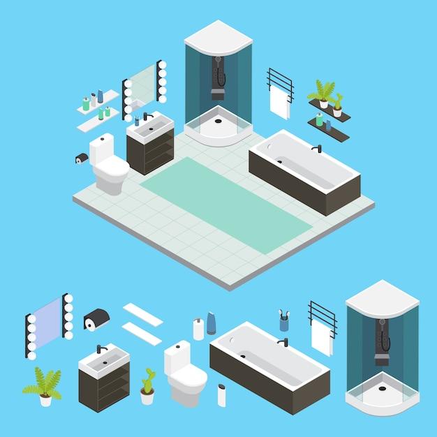 Izometryczna Kompozycja Wnętrza łazienki Z Prysznicem W Małym Pokoju Wyłożona Kafelkami Darmowych Wektorów