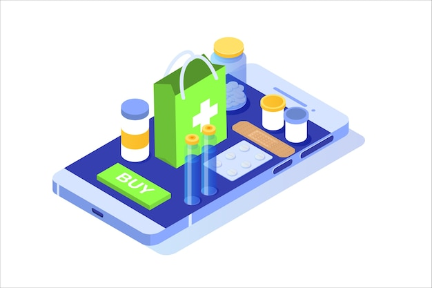 Izometryczna Koncepcja Apteki Internetowej Z Butelką Tabletek Leku. Premium Wektorów