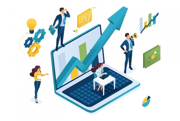 Izometryczna Koncepcja Biznesowa, Pracująca Razem Jako Zespół, Aby Osiągnąć Sukces. Premium Wektorów