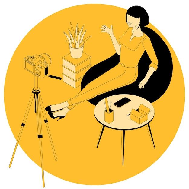 Izometryczna Koncepcja Blogowania O Modzie I Urodzie Oraz Projektów Marketingowych, Edukacyjnych, Webinarów I Tutoriali Premium Wektorów