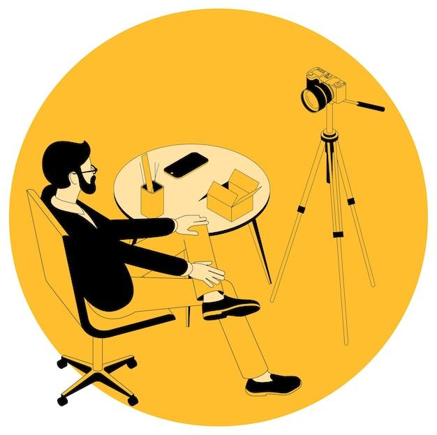 Izometryczna Koncepcja Blogowania Wideo I Projektów Marketingowych, Edukacyjnych, Webinariów I Samouczków Premium Wektorów