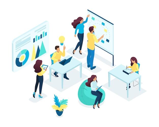 Izometryczna Koncepcja Młodego Zespołu, Praca Zespołowa, Opracowywanie Pomysłów Biznesowych, Burza Mózgów, Start-up. Pojęcie Sieci Premium Wektorów