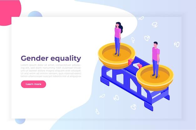 Izometryczna Koncepcja Równości Płci Z Mężczyzną I Kobietą Premium Wektorów