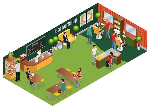 Izometryczna Koncepcja Salonu Fryzjerskiego Z Elementami Wnętrza Klientów Fryzjerów I Kawiarnia Na Białym Tle Darmowych Wektorów