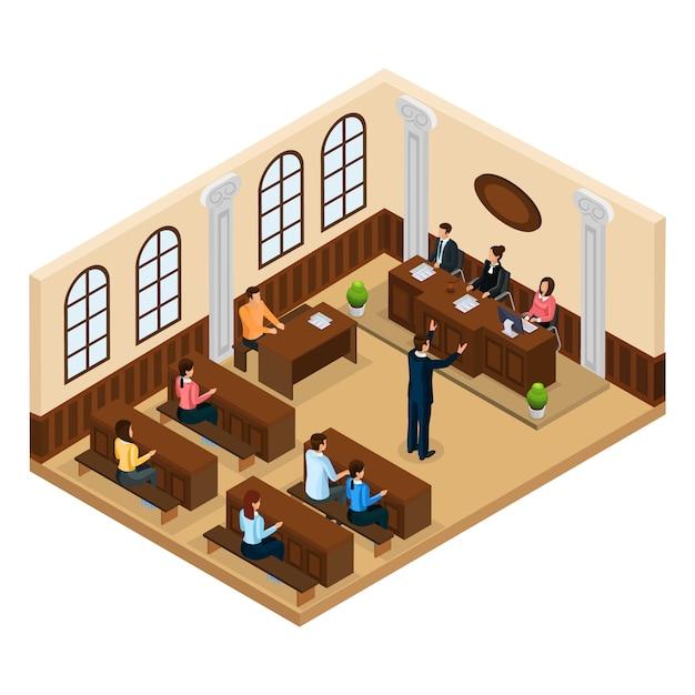 Izometryczna Koncepcja Systemu Sądowego Z Prawnikiem Broniącym Swojego Klienta Na Sali Sądowej Na Białym Tle Darmowych Wektorów