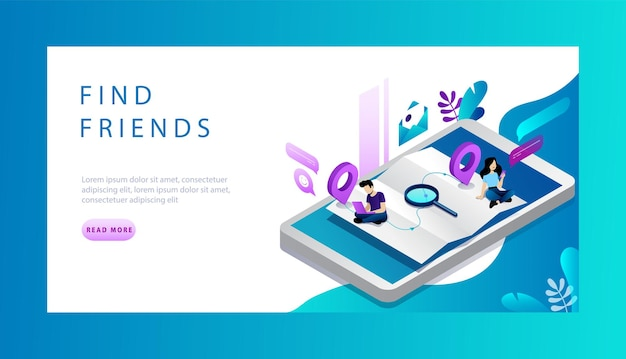 Izometryczna Koncepcja Znajdowania Przyjaciół W Internecie, Randek I Sieci Społecznościowych. Premium Wektorów