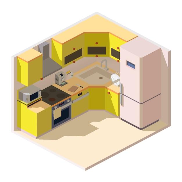 Izometryczna Kuchnia Z Meblami I Sprzętem Agd Darmowych Wektorów