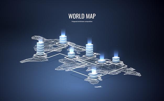 Izometryczna mapa świata w stylu wielokąta szkieletowego Premium Wektorów