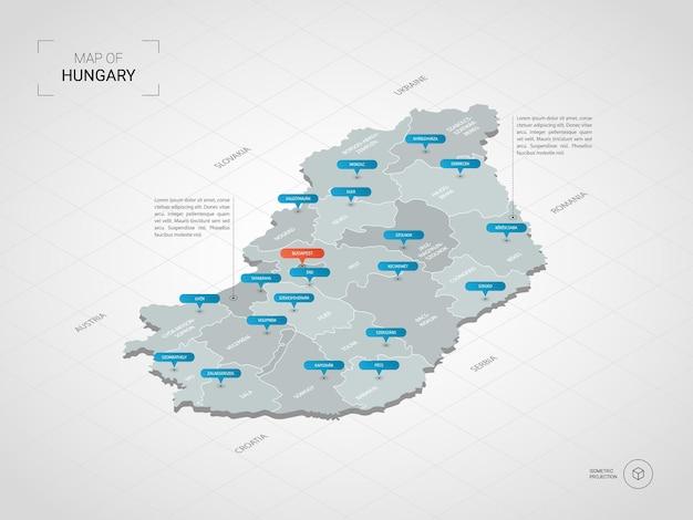 Izometryczna Mapa Węgier. Stylizowana Ilustracja Mapy Z Miastami, Granicami, Stolicą, Podziałami Administracyjnymi I Znakami Wskaźnika; Gradientowe Tło Z Siatką. Premium Wektorów