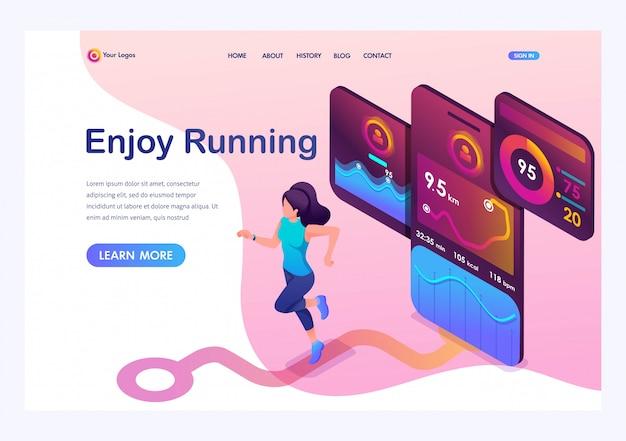 Izometryczna młoda dziewczyna jogging, uruchomiona aplikacja mobilna śledzi trening, sygnał gps. Premium Wektorów