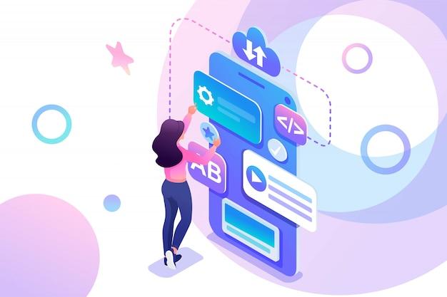 Izometryczna Młoda Dziewczyna Zajmuje Się Tworzeniem Aplikacji Mobilnej, Nastolatkiem Pracującym Na Ekranie Telefonu. Premium Wektorów