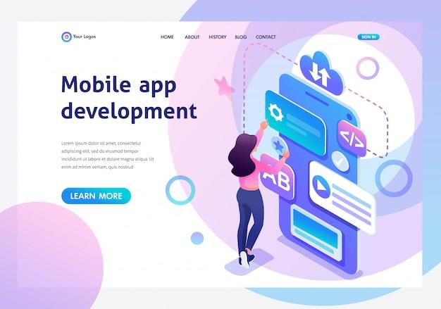 Izometryczna młoda dziewczyna zajmuje się tworzeniem aplikacji mobilnej Premium Wektorów