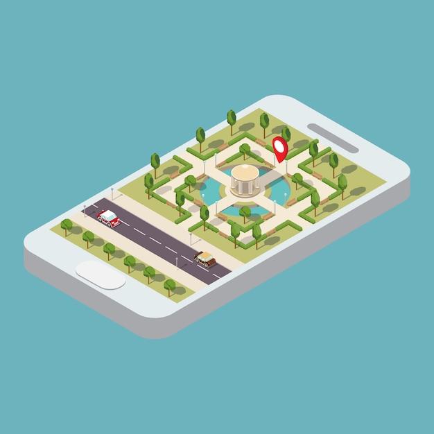 Izometryczna Nawigacja Mobilna Premium Wektorów