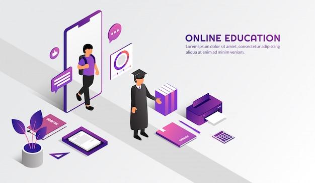 Izometryczna Nowoczesna Koncepcja Edukacji Online, Ucz Się Z Domu Poprzez Kurs E-learningowy Premium Wektorów