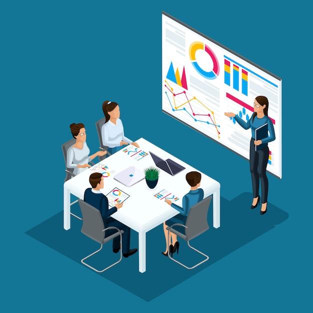 Izometryczna Osoba Osoba, 3d Biznesmeni, Coaching Dziewczyny, Szkolenie Biznesowe, Tablica Z Wykresami, Koncepcja Grupy Doradczej Osób, Praca Biurowa, Technologia High Tech Premium Wektorów