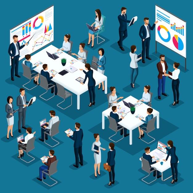 Izometryczna Osoba Osoba, Coaching 3d, Trener Biznesu, Biznesmeni, Pracownicy Firmy, Spotkanie, Partnerstwo, Zarządzanie Koncepcjami, Procesy Biznesowe, Szkolenia Premium Wektorów