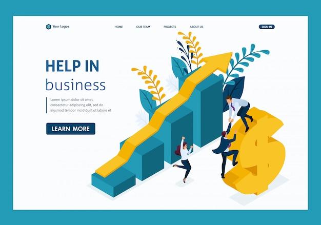 Izometryczna pomocna dłoń. duży biznes pomaga w rozwoju małego biznesu. Premium Wektorów