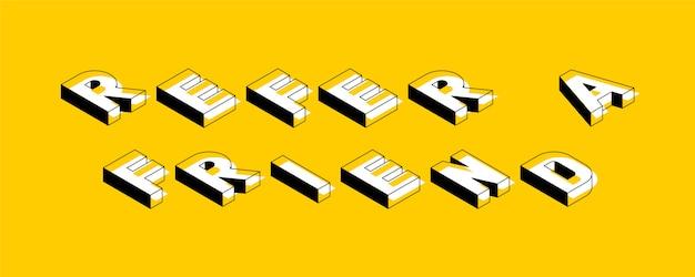 """Izometryczna retro typografia """"poleć znajomemu"""" Premium Wektorów"""