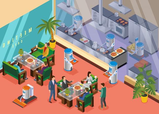 Izometryczna Robotyczna Restauracja Darmowych Wektorów