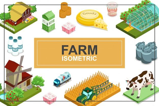 Izometryczna Rolnicza Kolorowa Kompozycja Z Domowym Wiatrakiem Ciągnikiem Ze Zwierzętami Szklarniowymi Belami Ciężarówek Produktów Mlecznych Z Siana Darmowych Wektorów
