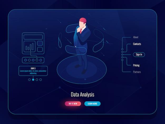 Izometryczna rzeczywistość wirtualna vr, człowiek pozostaje na platformie i wybiera opcje, koncepcja analizy danych Darmowych Wektorów