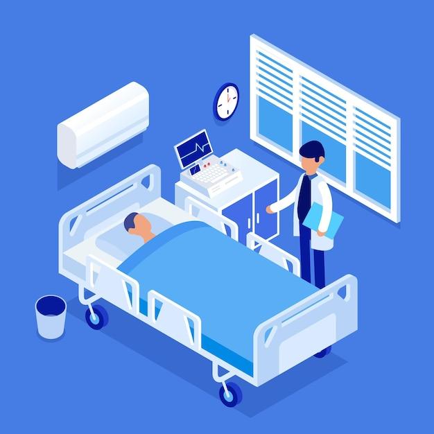 Izometryczna Sala Szpitalna Darmowych Wektorów