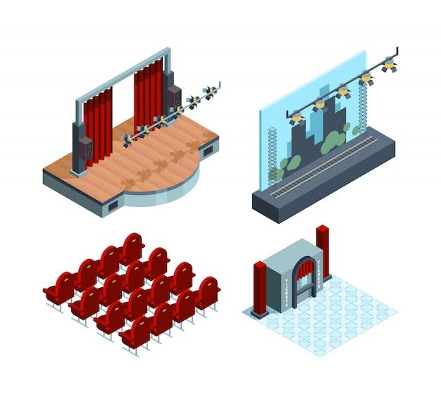 Izometryczna Scena Teatralna. Opera Sala Baletowa Wnętrze Czerwona Zasłona Aktorów Kolekcja Siedzeń Teatralnych Premium Wektorów