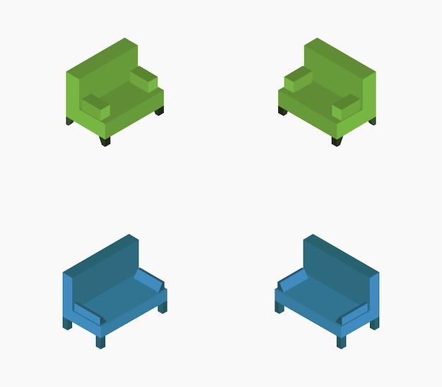Izometryczna Sofa Premium Wektorów