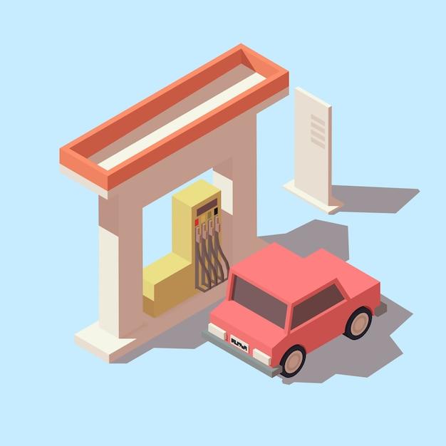 Izometryczna Stacja Benzynowa I Samochód Premium Wektorów