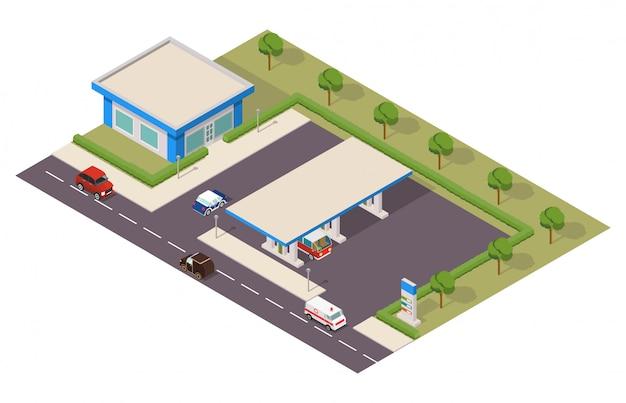 Izometryczna Stacja Benzynowa Z Samochodami Premium Wektorów