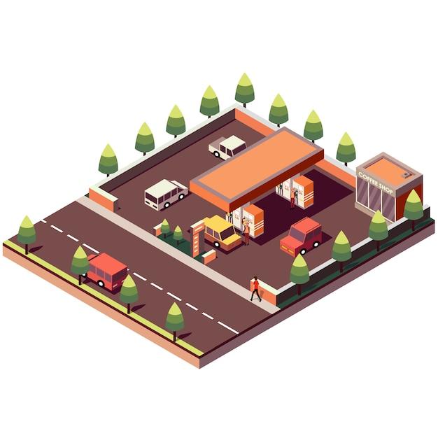 Izometryczna Stacja Benzynowa Premium Wektorów