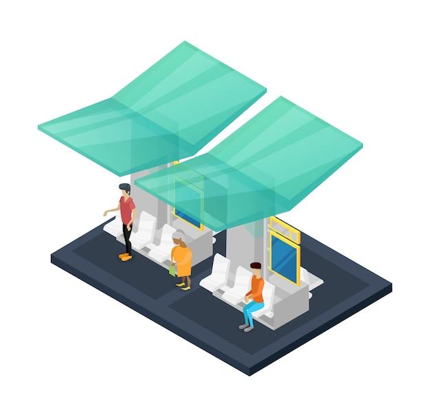 Izometryczna Stacja Miejska 3d Premium Wektorów