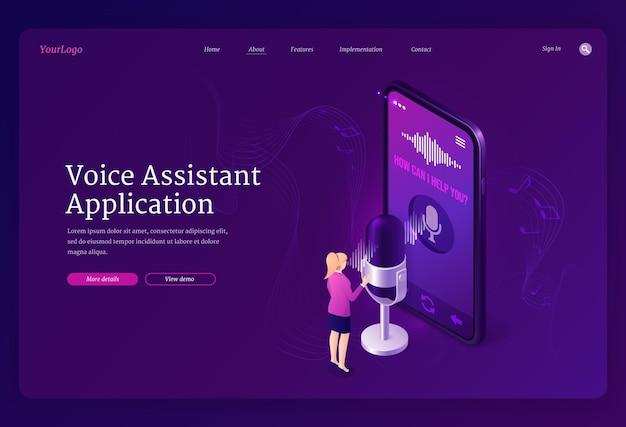 Izometryczna Strona Docelowa Aplikacji Asystenta Głosowego Darmowych Wektorów